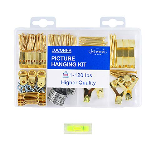 LOCONHA Picture Hanging Kit Includes Hooks, Nails, Sawtooth Hangers, Frames,and Picture Hanging Wire 246pcs