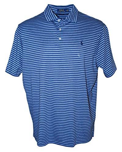 RALPH LAUREN Poloshirt für Herren, klassische Passform, weich, Baumwolle, gestreift, rustikales Marineblau/Jamaika-Heidekraut (XX-Large)