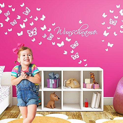 Grandora Wandtattoo Wunschname + 63 Schmetterlinge I pink I Kinderzimmer Babyzimmer Baby Kind Sticker Aufkleber Wandsticker Wandaufkleber...