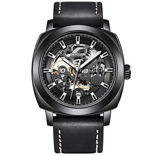 Benyar Automatische Herren-Armbanduhr mit echtem Lederarmband, Skelett, mechanisches Uhrwerk, Lume-Zeiger