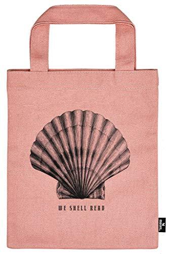 Moses libri_x Büchertasche Shell | Tragetasche aus 100% Baumwolle | Für Buchliebhaber, Altrosa