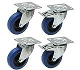 Juego de cuatro - caucho azul de 100 mm Ruedas Flight case - Ruedas elásticas pesadas de caucho 150kg cada
