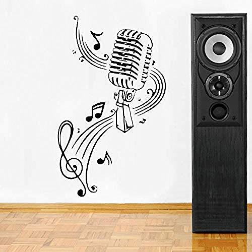 42x70cm música pared micrófono letrero notas musicales peluquería DIY cartel pared pegatina DIY arte calcomanía
