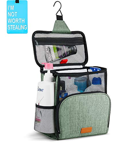 Hiverst Hanging Toiletry Bag, Shower Caddy Tote Bag (Updated Version, Full Size Bottle Compatible), Bath Organizer for College Dorms, Gym, Camp, Women Men, with Funny Luggage Tag