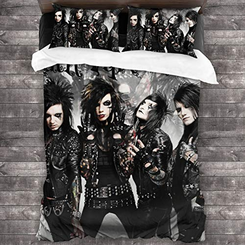 """AMZOPDGS Black Veil Brides 3pk 86""""X70 Double Bedding Set Quilt Set Personalized Soft Sheet, Two Pillow Cases and One Quilt Cover"""