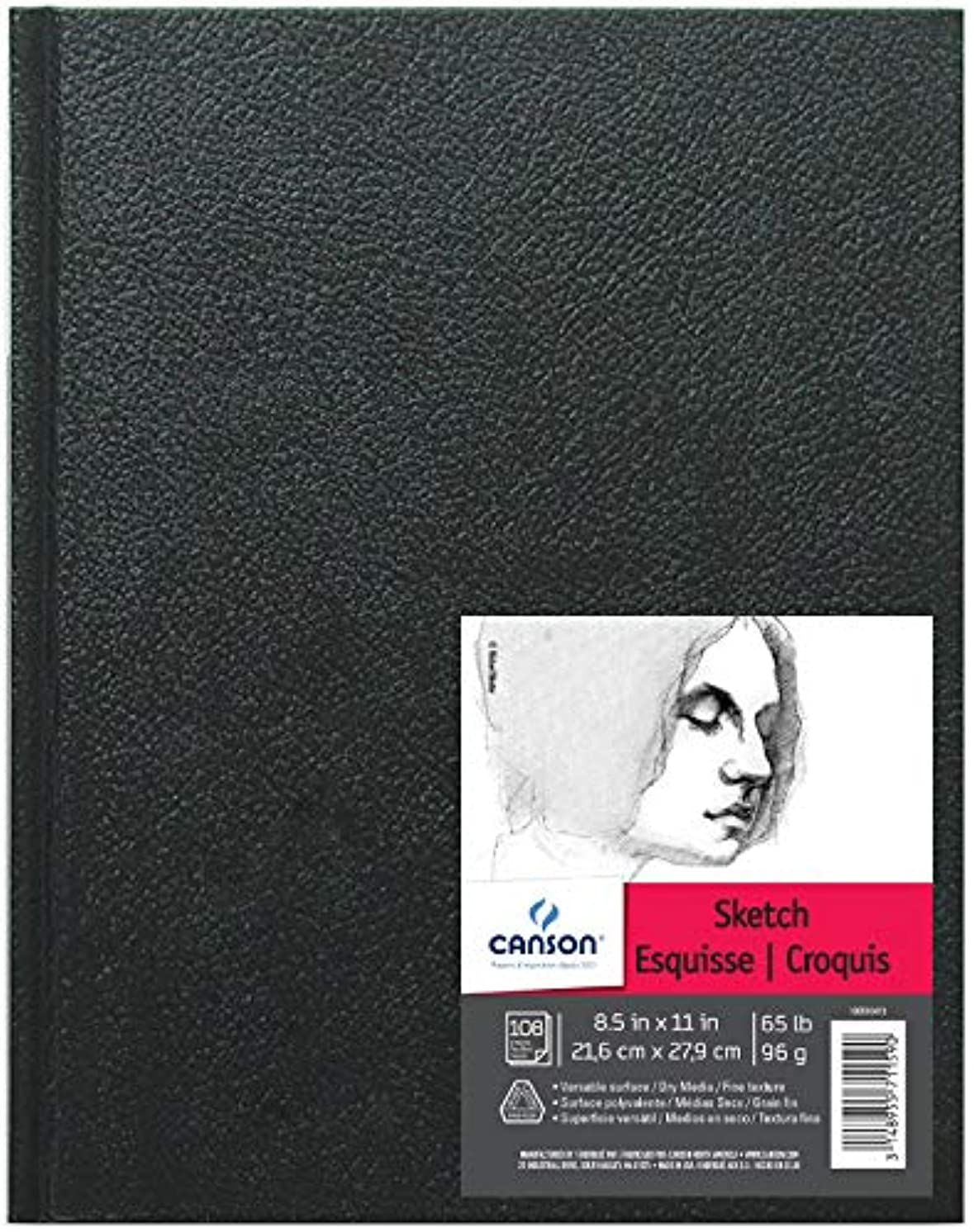 Canson Artist Series Sketch Book Paper Pad, for Pencil and Charcoal, Acid Free, Hardbound, 65 Pound, 8.5 x 11 Inch, 100 Sheets