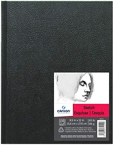 Canson Artist Series Sketch Book Paper Pad, for Pencil and Charcoal, Acid Free, Hardbound, 65 Pound, 8.5 x 11 Inch, 108 Sheets