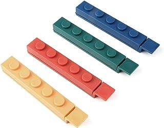 مشابك إغلاق للحقائب، مشبك إغلاق بتصميم مكعبات البناء القابلة للتركيب لتخزين الطعام والوجبات الخفيفة، ألوان متعددة (4 قطع)