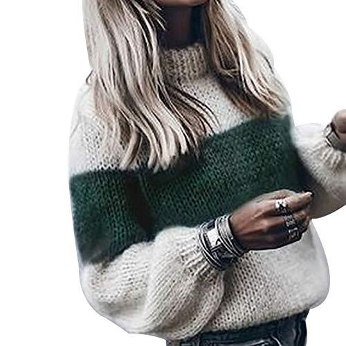 Vertvie dames rolkraagpullover trui sweater gebreide trui rolkraag strepen losse fit pluizig lange mouwen warm herfst winter grof gebreid trui bovenstuk