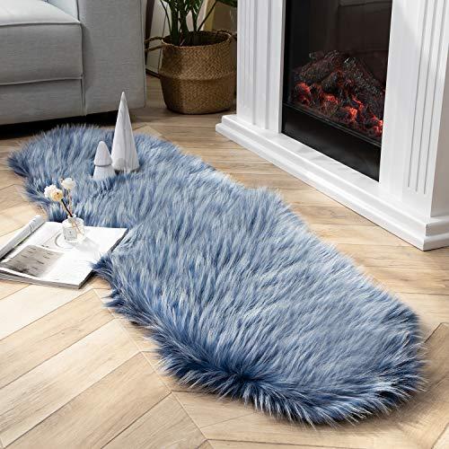Ashler Faux Fur Rug Soft Faux Peacock Fluffy Rugs Luxurious Carpet Rugs Area Rug for Bedroom, Living Room Carpet Blue- 2 x 6 Feet