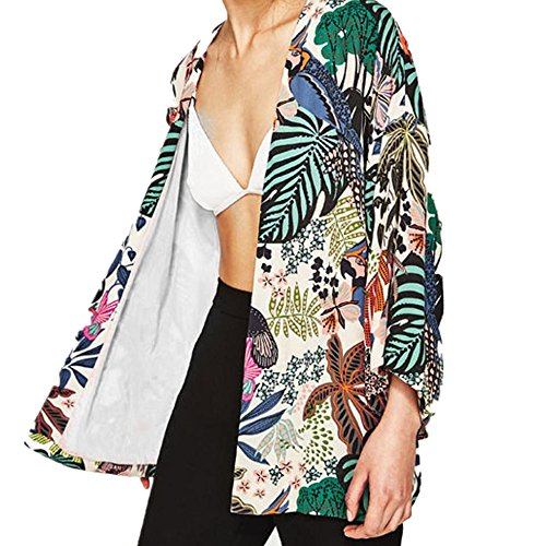 MOSE New Cardigan Printed blouse for women, Women Floral Chiffon Kimono Oversized With Fringe Shawls Wraps (Multicolor, XL)