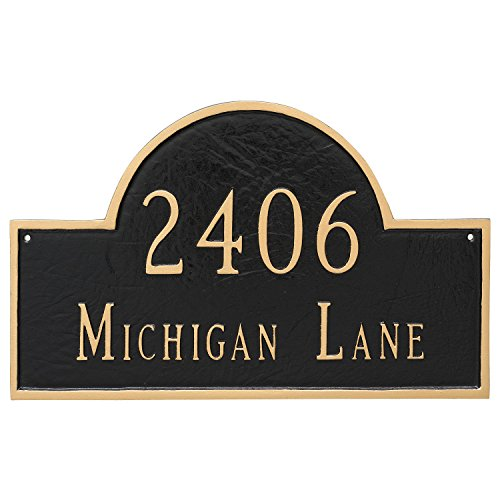 "Montague Metal 10.5"" x 16.5"" Classic Arch Two Line Address Sign Plaque, Standard, Black/Silver"