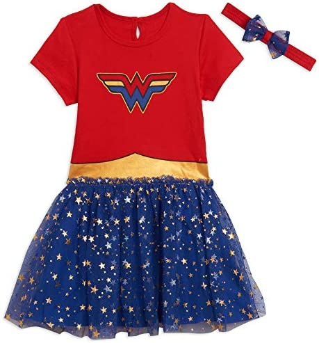 DC Comics Wonder Woman Toddler Girls Short Sleeve Costume Dress 5T Red Blue product image