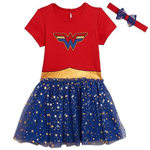 DC Comics Wonder Woman Toddler Girls Short Sleeve Costume Dress 4T Red/Blue