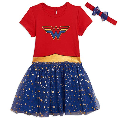 DC Comics Wonder Woman Big Girls Short Sleeve Costume Dress 6/6X Red/Blue