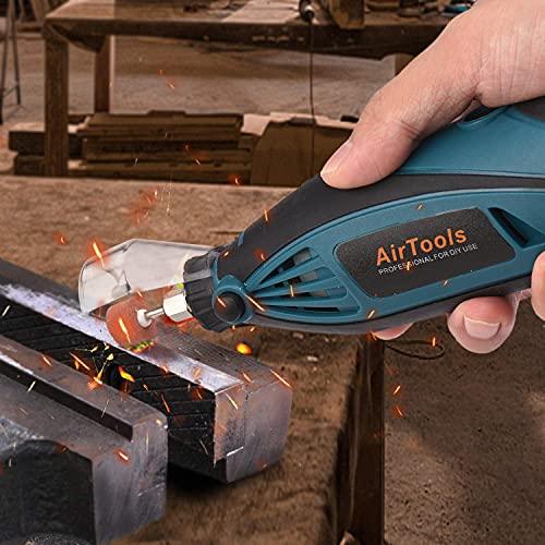 2021年進化版AirToolsミニルーター6段変速ホビールーター150PCSセット130W8000-32000RPM高速回転軽量リューター彫刻/穴あけ/研磨/切断/切削/汚れ落とし保護カバー付日本語取扱説明書付き