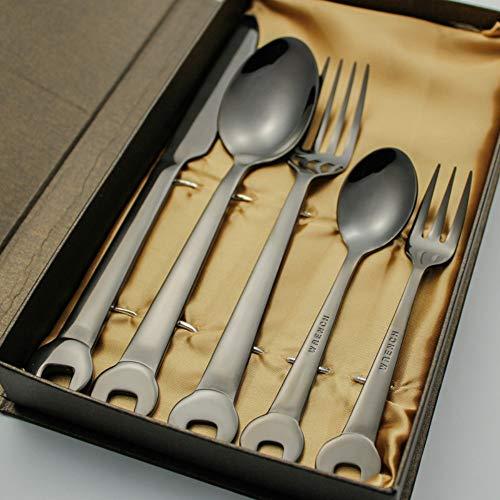 Gemischte Bestecksets Western Food Edelstahlbesteck 304 Schraubenschlüssel Steakmesser Gabel Löffel schwarz