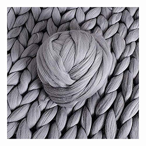 Lavorata Lana Grossa Coperta, Coperte Ingombranti Maglia con Cavo in Cotone Filato Morbido Fatto Mano Grigio 200x200cm