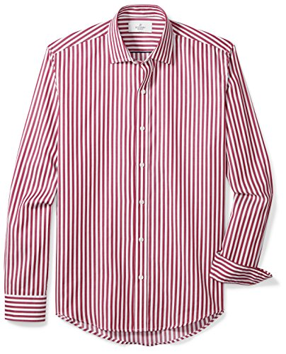BUTTONED DOWN Men's Slim Fit Supima Cotton Spread-Collar Dress Casual Shirt, Burgundy/White Large Bengal Stripe, L 34/35