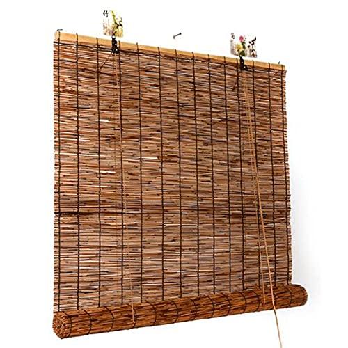 Cortinas de caña natural, cortinas de bambú de hierba romanas, persianas transpirables, sombrilla impermeable, con elevador, para interiores/exteriores/de jardín/A / 120 × 140cm