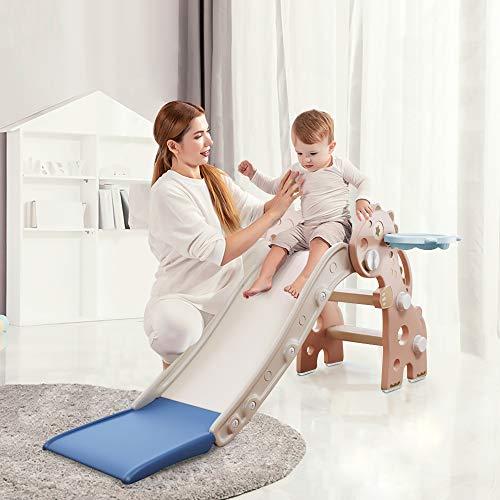 HAPPYMATY Kinderrutsche Mini Rutsche für Kleinkinder Rutsche Indoor klappbar Dinosaurier Rutsche für Babys ab 10 Monate 115cm Rutschbahn Pink