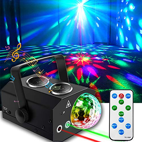 Disco Lights, Disco Ball Lights Bluetooth Speaker, DJ Party Lights with LED Stage Light Projector Strobe Lights Sound Activated with Remote Control for Xmas Club Bar KTV Holiday Christmas Birthday