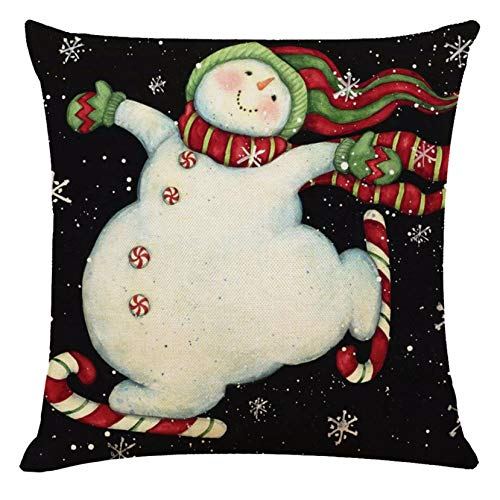 Afdiscount Christmas Pillow Case Throw Cushion Cover Linen Pillow Rustic Christmas Theme Pillow Covers for Home&Office, Sofa Couch Decor (45×45cm) (B)