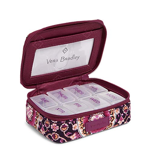 Vera Bradley Signature Cotton Travel Pill Organizer, Raspberry Medallion