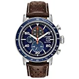 Citizen Eco-Drive Brycen Chronograph Mens Watch, Stainless Steel with Leather strap, Weekender, Brown (Model: CA0648-09L)