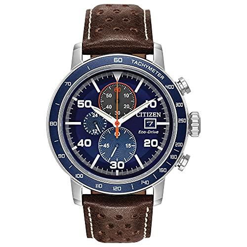 """Citizen """"Eco-Drive"""" - Reloj casual para hombre, de acero inoxidable y cuero, color marrón (modelo: CA0648-09L)"""