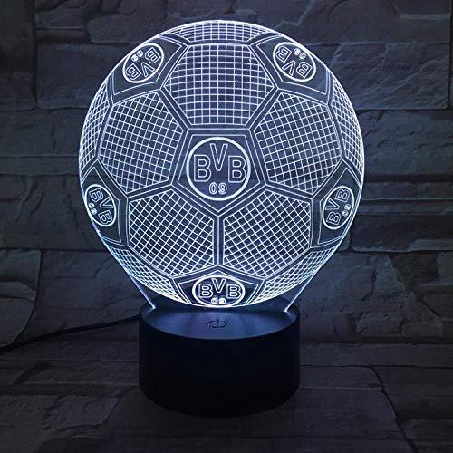 International Bvb Fußballmannschaft Abzeichen 3D Nachtlicht 7 Farben Schlaflicht USB-Netzteil LED-Blitz Touch-Fernbedienung Kinderzimmer Dekoration Touch