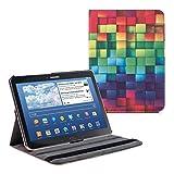 kwmobile Cover Compatibile con Samsung Galaxy Tab 4 10.1 T530 / T535 - Custodia per Tablet Rotazione 360° Stand Similpelle - Cubi Multicolore/Verde/Blu