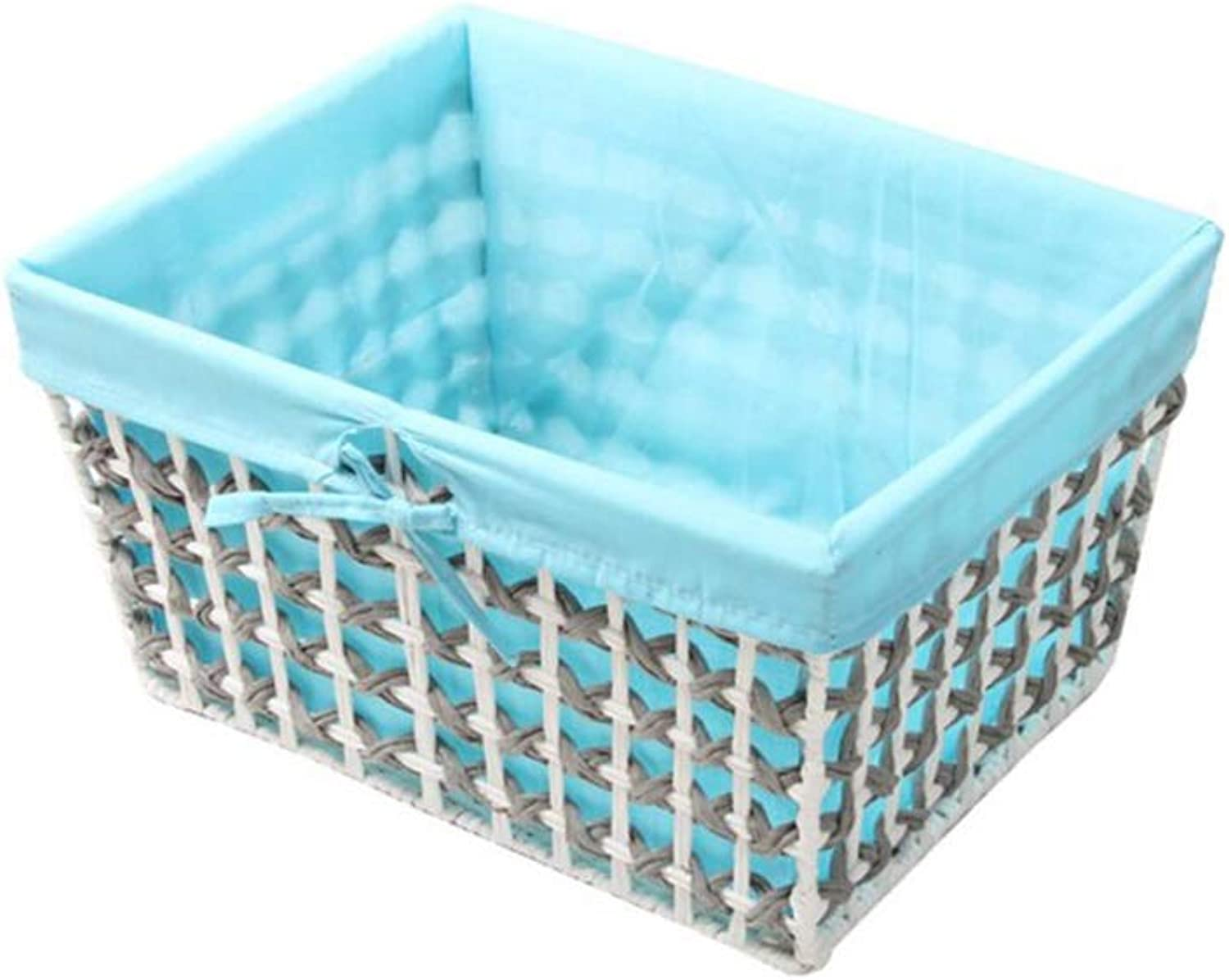 MUMA Storage Basket Rattan Weaving Lining Detachable Easy to Clean Durable Simple Home Supplies (color   bluee, Size   40  31  21cm)