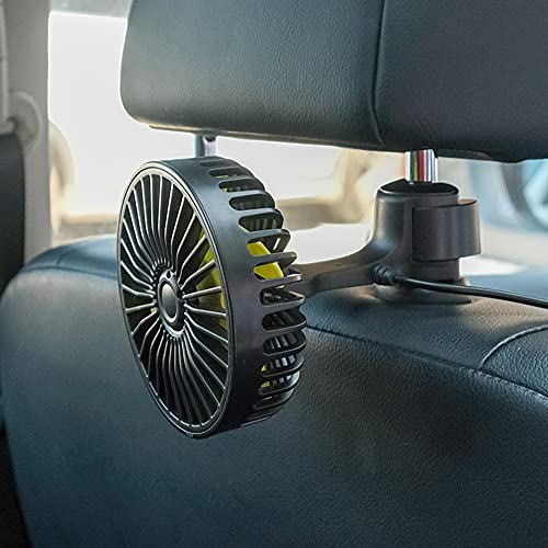 iSpchen Ventilador Para Automóvil Ventilador Recargable Por Usb, Ventilador Portátil de 5 V Con 3 Velocidades de Rotación Ajustables de 360 ° Ventilador Usb Para Vehículo Suv, Rv, Estilo de Ventosa