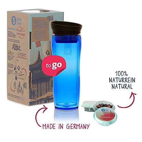 Shuyao Starter Set Tea To Go Thermobecher blau (360ml) mit integriertem Teesieb + 3x naturreiner loser Tee 9g