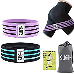 SueH Design Anti-Rutsch-Fitnessband für Beine und Po | Widerstandsband aus Textilmaterial I Ideal für zu Hause und unterwegs | Geeignet für Yoga, Pilates und Gewichtheben - 2er Set