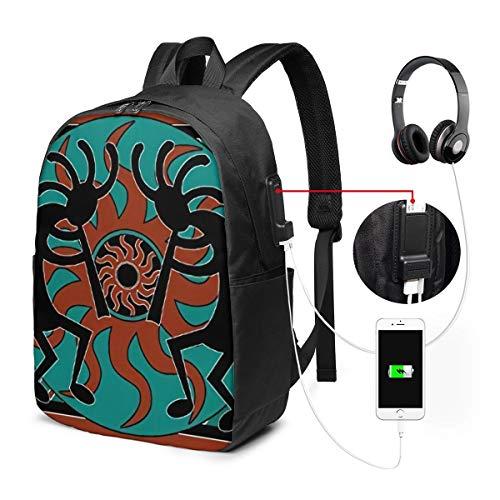 NA Mochila para portátil, antirrobo resistente al agua, para hombres, mujeres, con puerto de carga USB, compatible con flauta india americana de menos de 17 pulgadas