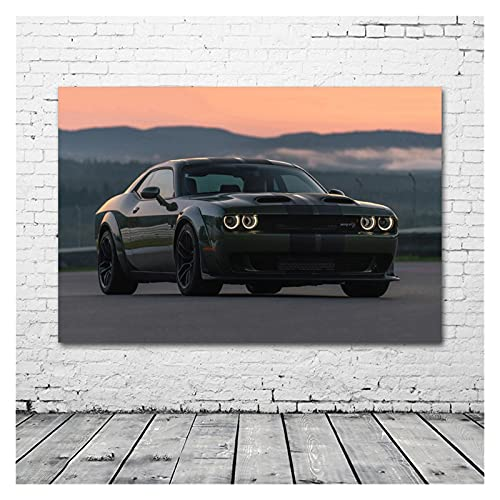 RHWXAX Dodges Challenger SRT Green Car Muscle Car Twilight Wall Art Pósteres Tela Lienzo Imprimir Pinturas para la decoración de la Sala de Estar 20x28 Pulgadas Sin Marco
