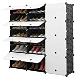 MAGINELS 48-Pair Portable Shoe Rack, DIY Shoe Storage Shelf Organizer, Plastic Shoe Cube Storage Organizer, Shoe Storage Tower Stand with Doors, Shoe Cabinet for Entryway, Black