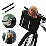 ANZOME Dogs Carrier Bike Basket, Handlebar Basket Folding Front Removable wiht...
