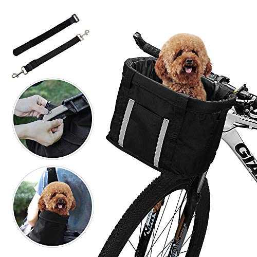 ANZOME Bicycle Basket, Folding Dog Carrier Front Removable With Reflective Strip Adjust Dog Seatbelts Bicycle Handlebar Basket Quick Release Easy Install Detachable Cycling Bag Mountain Picnic Shop