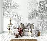 Modernos murales de pared en blanco y negro con planta de hoja de coco y palmera Pared Pintado Papel tapiz 3D Decoración dormitorio Fotomural de estar sala sofá mural-300cm×210cm