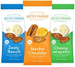 Keto Farms, Crunchy Cheese Mix, Keto Snacks (2g Net Carb) [Variety Pack] 1 Ounce, 6 Count   Keto Friendly Low Carb Snacks - Real Food, Bold Flavor, Satisfies Keto Chips Cravings, Portion Control