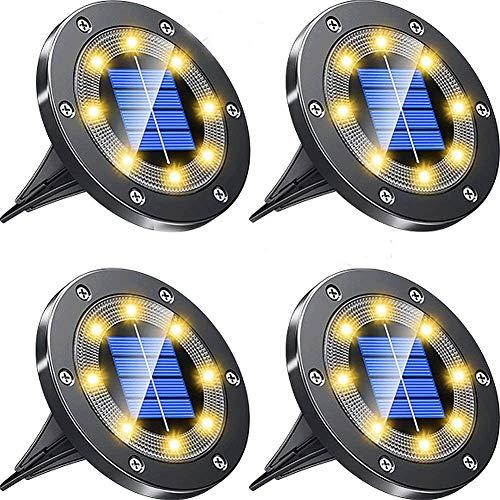 ソーラーライト 屋外 ガーデンライト 埋め込みライト ソーラー 4個セット IP67防水 太陽光充電 防犯対策 光センサー 8LED 高輝度 ライトアップ 自動点灯/消灯 芝生/ガーデン/玄関先/庭/車道/歩道 (ウォームホワイト)