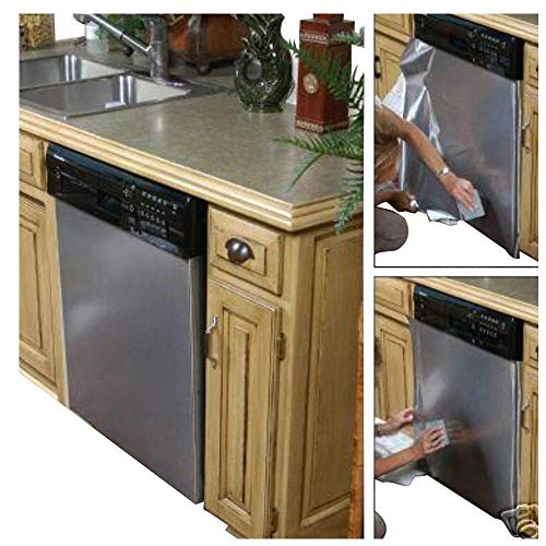 EZ FAUX DECOR As Seen On TV Peel and Stick Dishwasher Panel Cover Stainless Steel Film BRUSHED Nickel Update appliances 36