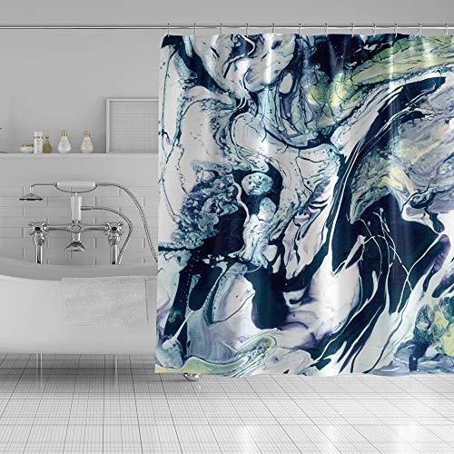 YongFoto Marmor-Duschvorhang, mehrfarbig, Mischstruktur, flüssig, grafisch, Kunst, Duschvorhang für Badezimmer, Dekoration, Polyester-Stoff, Vorhang-Sets 183 x 188 cm