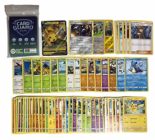 Pok – Lote de 50 tarjetas de Pokemon sin dobleces + 1 V / GX / EX / VMAX Pokemon + 2 tarjetas brillantes de regalo + 1 tarjeta Rare + 100 Heartforcards® Card Guard Soft Sleeves