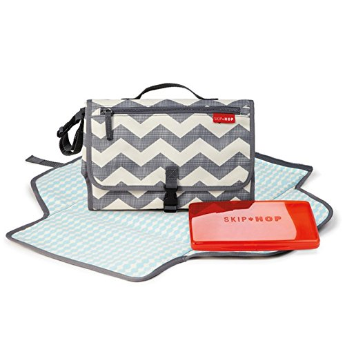 Skip Hop Baby Pronto Portable Changing Station with Cushioned Changing Mat and Wipes Case, 3 Pockets, Chevron