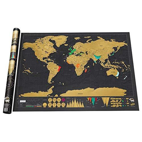 PRXD-wereldkaart - A3 Travel Edition - Gepersonaliseerde Travel Tracker-poster - Herinner jezelf aan je avonturen en deel ze (zwart|82,5 x 59,5 cm)