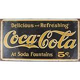 Placa de metal 41 x 21 cm, diseño retro con texto en francés «Coca»